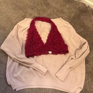 BUNDLE Free People bralette and oversized sweater